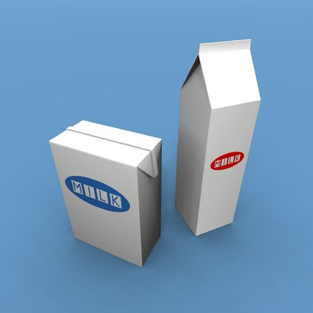 a 3d render of two milk packs on a blue background photo