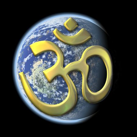 devanagari: an image of a the earth with the golden sacred syllable Aum