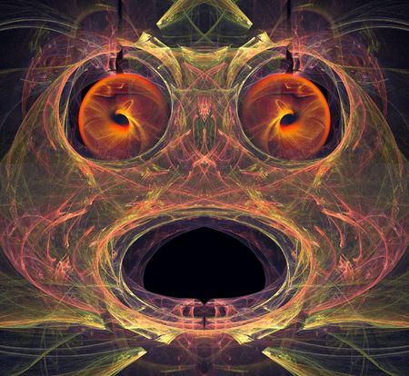 fractals: a creature head made with several fractals Stock Photo