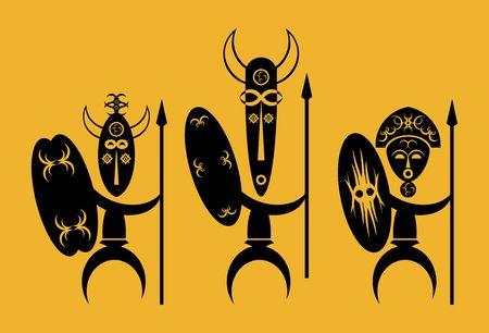 tres guerreros africanos con lanza y escudo Foto de archivo - 5185726