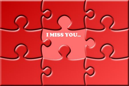 miss you: illustration of a red puzzle with a missing piece Stock Photo