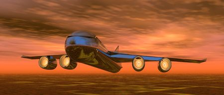 illustration of an aeroplane flying in a sunset sky Stock Illustration - 5238248