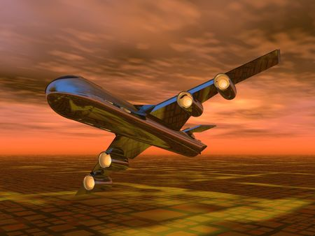 illustration of an aeroplane flying in a sunset sky Stock Illustration - 5238262