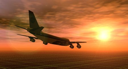 illustration of an aeroplane flying in a sunset sky Stock Illustration - 5238261