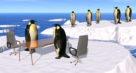 interviews: illustration of a recruiting Interview at the Penguin Company