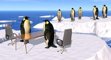 new recruit: ilustraci�n de una entrevista en la contrataci�n de la empresa Penguin
