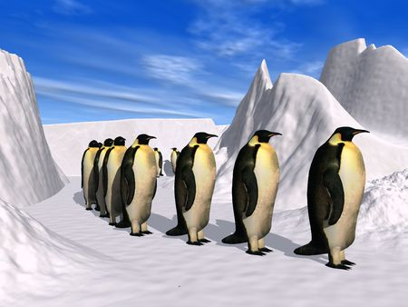 walking penguins in a polar landscape
