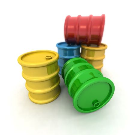 petrochemistry: 3D rendering of some colored barrels Stock Photo
