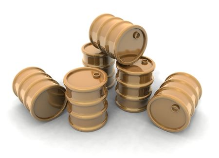 petrochemistry: a 3D rendering of some golden barrels Stock Photo