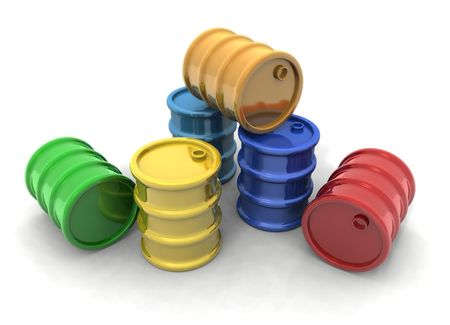 petrochemistry: Representaci�n 3D de algunos barriles colores Foto de archivo