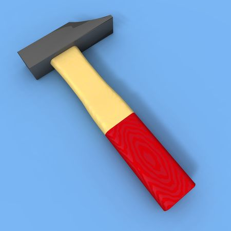 dyi: a Drendering of a hammer on a blue background