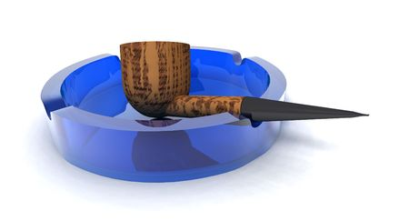 mania: a 3Drendering of a pipe in a blue ashtray