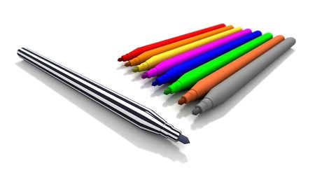 a 3d rendering of some felt tip pens Stock Photo - 5515257