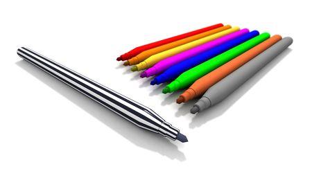 felt tip: a 3d rendering of some felt tip pens