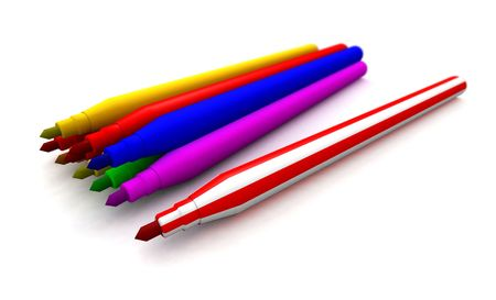 a 3d rendering of some felt tip pens Stock Photo - 5515262