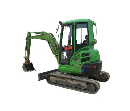 image showing a green excavator with a white background Stock Photo