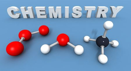 a 3Drender of some text and molecules to illustrate the word chemistry photo