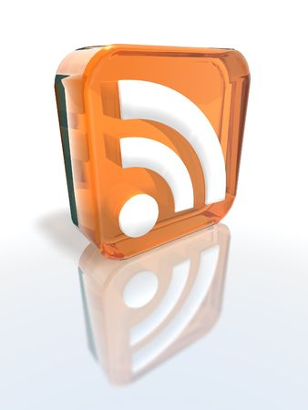 a 3d render of an orange RSS sign Stock Photo