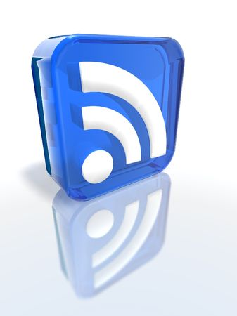 syndicated: a 3d render of a blue RSS sign
