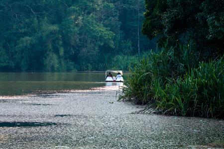 Boating at Pookkode lake, Wayanad, Kerala, a scenic fresh water lake Imagens