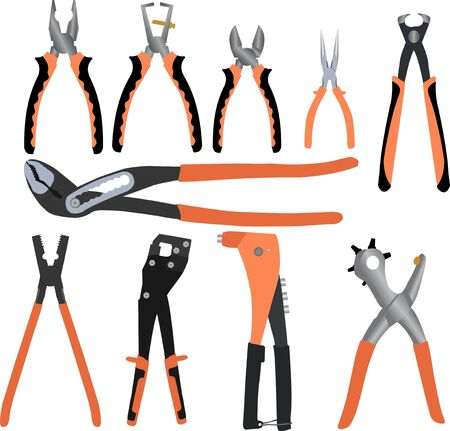Set of different handle pliers working tools vector design