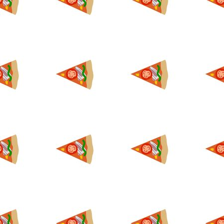 slice of pizza seamless pattern element , isolated on clean white background Ilustracja