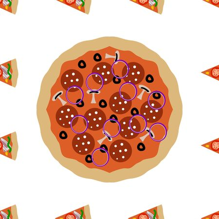 Pizza and slices seamless pattern element , isolated on clean white background