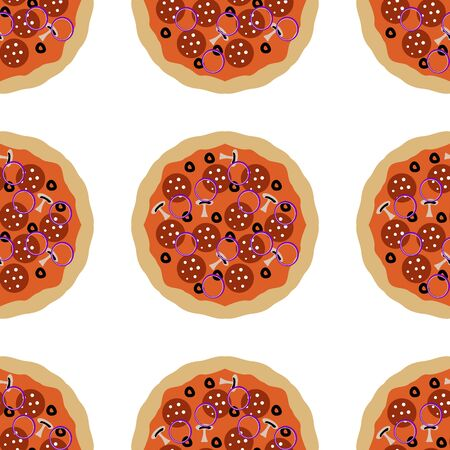 Pizza seamless pattern element , isolated on clean white background