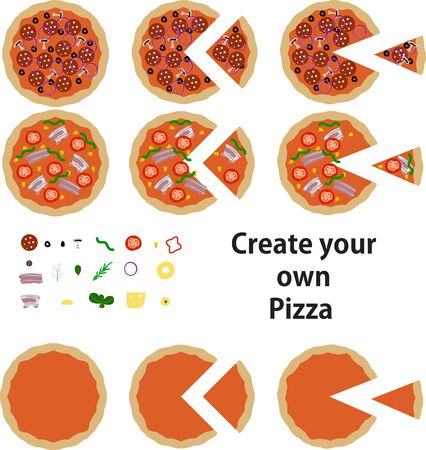 Create your own pizza graphic design illustration with slices of pizza included Иллюстрация