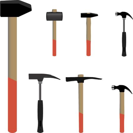 Set of hammer tools useful for buildings concept