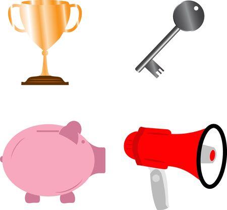 Business success concept elements, key award cup, piggy bank and bullhorn set