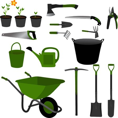 Gardening tools set collection with green color theme and objects