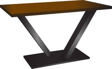 Modern design of small table , composed from iron and wood