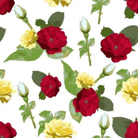 Rose flowers seamless pattern design, watercolor style, textile fashion texture background