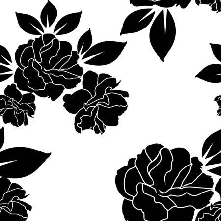 rose black and white wallpaper or textile seamless pattern design Illustration