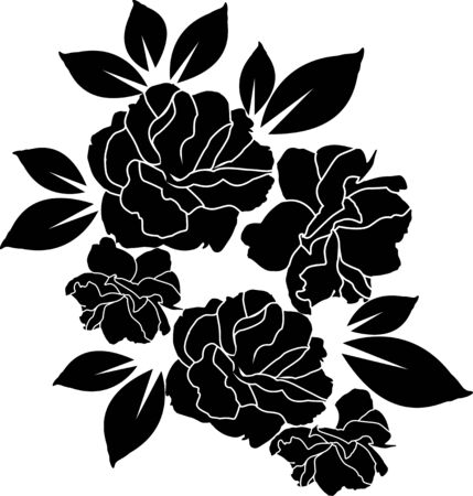 rose black and white wallpaper or textile clean design