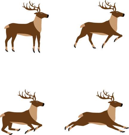 Reindeer Ilustration, flat design element, Christmass decoration
