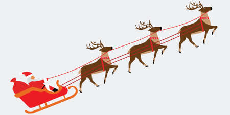 Santa Claus pulled by reindeers , Christmass illustration