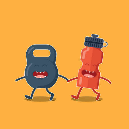 squeeze: Friend of fitness and bodybuilding kettlebell and squeeze Illustration