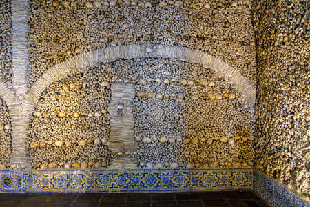 Famous Chapel of Bones in Evora, Portugal constructed of skeletons and human remains