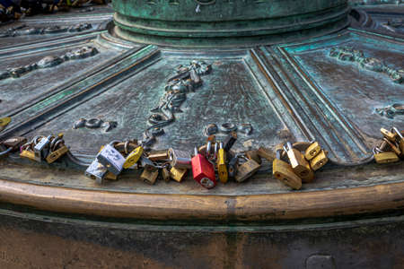Lovers leave their symbols of affection on a lamppost at the Plaza Mayor  Madrid Spain