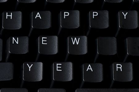 Happy New Year sign spelled with computer keys Stock Photo - 5646164