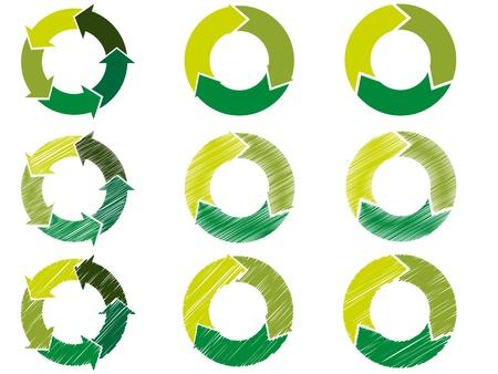 cicla: Círculos en los pasos y decorado con flechas en un esquema de color verde hace referencia a la ecología y la sostenibilidad