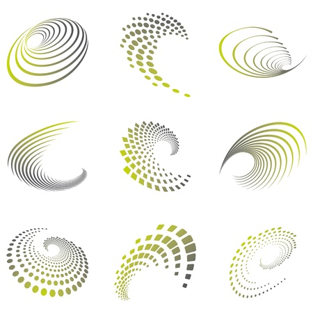 vicious: Set of nine abstract wave icons and geometric shapes in grey and green shades  Can be used for party, business, technology, sports, motion, promotion, etc  Illustration