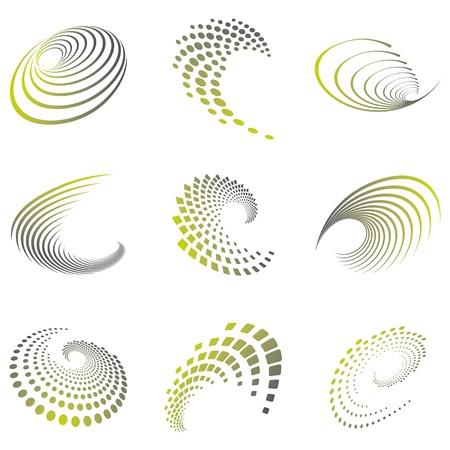 Set di nove icone onda astratti e forme geometriche in tonalità grigio verdi e può essere utilizzato per il partito, affari, tecnologia, sport, movimento, promozione, ecc