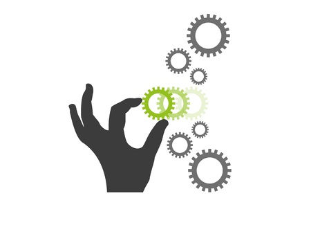 new opportunity: A silhouette of a hand putting in the missing gear wheel in a chain of gear wheels