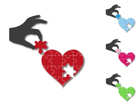 missing puzzle piece: Silhouette of a hand putting the missing jigsaw puzzle piece in a heart shape, in different colors available