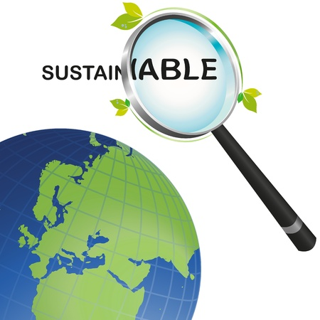 environmental awareness: Sustainable earth looking from a magnifying glass Illustration