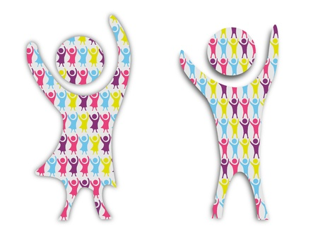 cheer up: Boy and girl cheering with arms up in the air in abstract format.