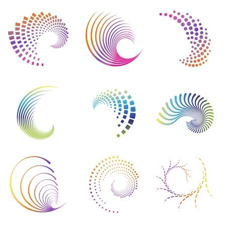 abstracta: Conjunto de nueve iconos de dise�o abstracto de onda creativas. Estos pueden ser usados ??para el partido, negocio, onda, movimiento, gr�ficos, como elemento de dise�o, como un remolino, etc